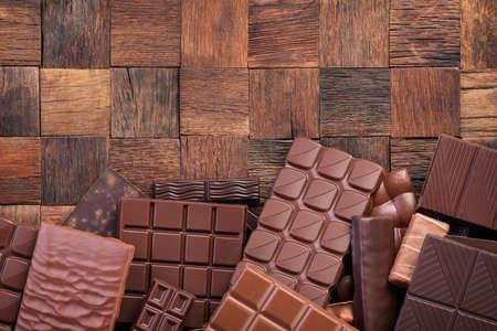 mix chocolate bar, top view. organic cocoa food background 版權商用圖片
