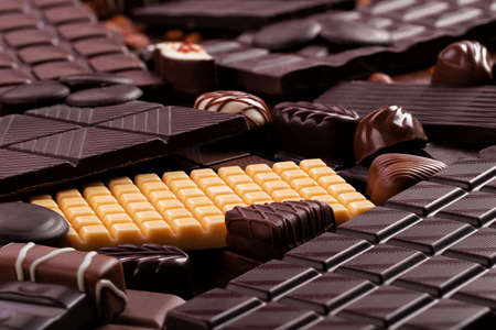 sweet food background, chocolate candy and other sweetness