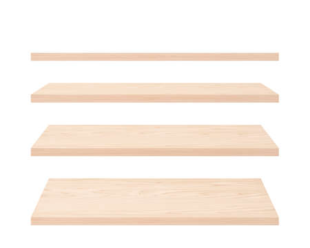 set of wooden planks isolated on white. empty shelves with natural pattern
