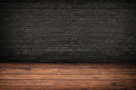 empty room interior, wood floor or brick wall Standard-Bild