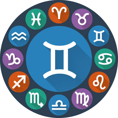 asterism: Signs of the zodiac circle - Gemini. Astrological flat icon