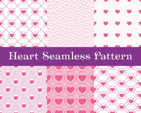 invation: Heart  seamless patterns. Pink color. Endless tiling texture for printing onto fabric and paper or scrap booking. Valentines day vector background for invitation. Illustration