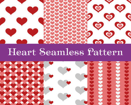 invation: Heart  seamless patterns. Red and pink color. Endless tiling texture for printing onto fabric and paper or scrap booking. Valentines day vector background for invitation.
