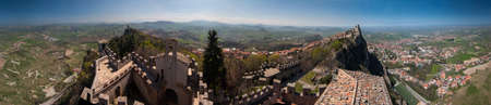 360 degree panorama (diorama) view city and towers in San Marino Republic
