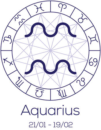 date of birth: Zodiac sign - Aquarius. Astrological symbol in wheel with polygonal background. Astrology chart in deep blue color with caption and date of birth. Vector illustration. Illustration