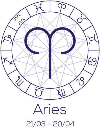 date of birth: Zodiac sign - Aries. Astrological symbol in wheel with polygonal background. Astrology chart in deep blue color with caption and date of birth. Vector illustration. Illustration