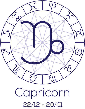 date of birth: Zodiac sign - Capricorn. Astrological symbol in wheel with polygonal background. Astrology chart in deep blue color with caption and date of birth. Vector illustration.