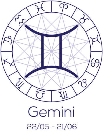 Zodiac Sign Gemini Astrological Symbol In Wheel With Polygonal