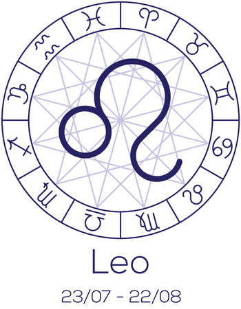 Zodiac Sign Leo Astrological Symbol In Wheel With Polygonal