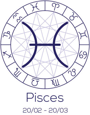 Zodiac sign - Pisces. Astrological symbol in wheel with polygonal background. Astrology chart in deep blue color with caption and date of birth. Vector illustration.