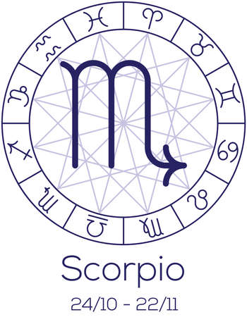 date of birth: Zodiac sign - Scorpio. Astrological symbol in wheel with polygonal background. Astrology chart in deep blue color with caption and date of birth. Vector illustration.