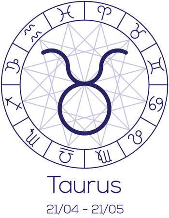 date of birth: Zodiac sign - Taurus. Astrological symbol in wheel with polygonal background. Astrology chart in deep blue color with caption and date of birth. Vector illustration.