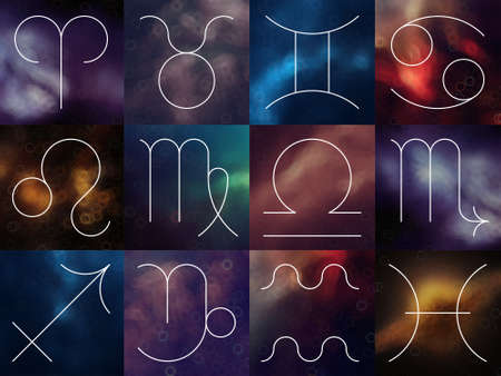 Zodiac signs. White thin line astrological symbols on blurry colorful space background.