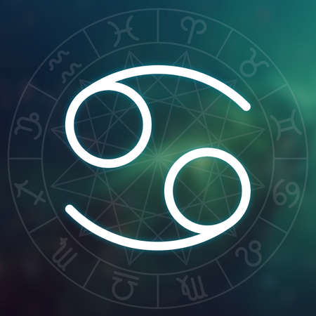 Zodiac sign - Cancer. White thin simple line astrological symbol on blurry abstract space background with astrology chart.