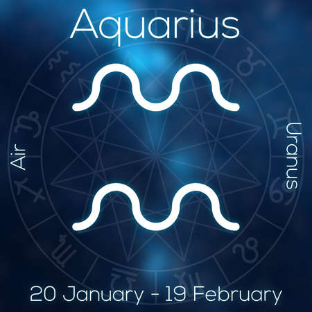 zodiac symbol: Zodiac sign - Aquarius. White line astrological symbol with caption, dates, planet and element on blurry abstract background with astrology chart.