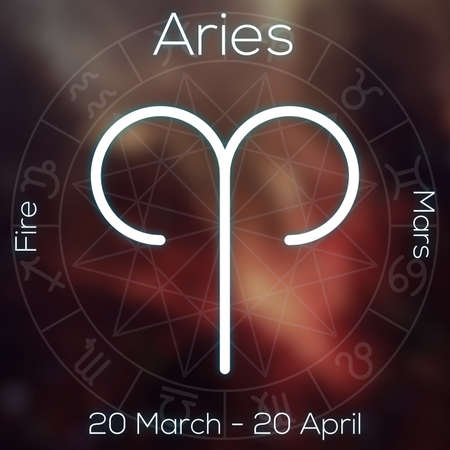 archer fish: Zodiac sign - Aries. White line astrological symbol with caption, dates, planet and element on blurry abstract background with astrology chart.