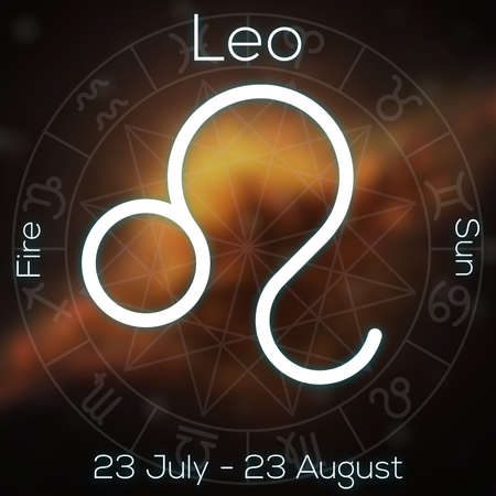Zodiac sign - Leo. White line astrological symbol with caption, dates, planet and element on blurry abstract background with astrology chart. photo