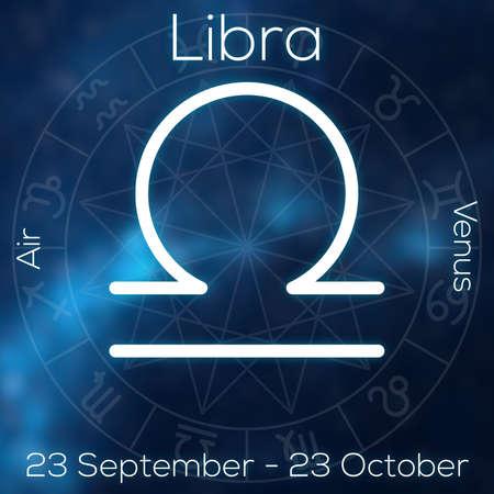 Zodiac Sign Libra White Line Astrological Symbol With Caption