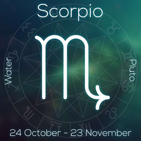 abstract aquarius: Zodiac sign - Scorpio. White line astrological symbol with caption, dates, planet and element on blurry abstract background with astrology chart.