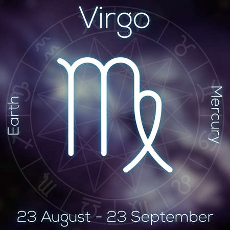 taurus sign: Zodiac sign - Virgo. White line astrological symbol with caption, dates, planet and element on blurry abstract background with astrology chart. Stock Photo