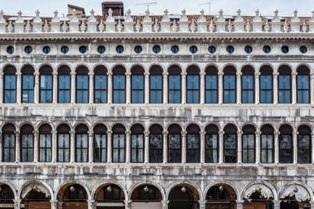 vecchie: Facade of Procuratie Vecchie - building in gothic style on St Marks Square Editorial
