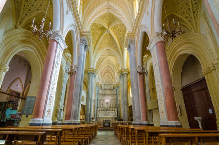 erice: ERICE, ITALY - SEPT 12, 2015: Interior of the Cathedral of Erice, Santa Maria Assunta, Chiesa Madre. Erice, province of Trapani. Sicily, Italy.