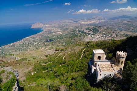 erice: Castle and aerial view of the Erice, Sicily, Italy.