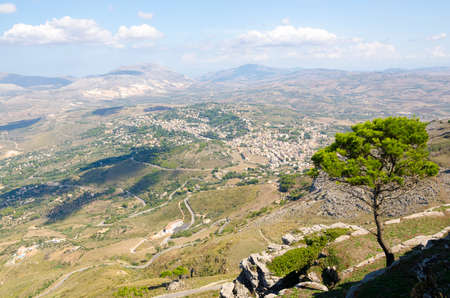 erice: Aerial view of the Erice, Sicily, Italy. Stock Photo