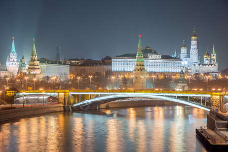 Moscow Kremlin at night. Popular tourist view of the main attraction of Moscow.