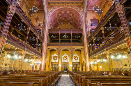 synagogue: BUDAPEST, HUNGARY - FEBRUARY 21, 2016: Interior of the Great Synagogue in Dohany Street. The Dohany Street Synagogue or Tabakgasse Synagogue is the largest synagogue in Europe. Budapest, Hungary.