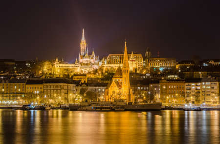 matthias church: Night view of the Matthias Church and Pest side in Budapest, Hungary. Editorial
