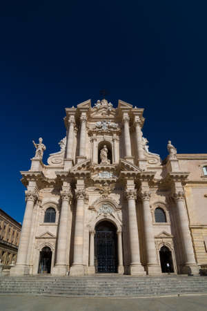 The Cathedral of Syracuse or Duomo di Siracusa is an ancient Catholic church in Syracuse, Sicily, the seat of the Roman Catholic Archdiocese of Siracusa, and is included in UNESCO World Heritage Site Stock Photo