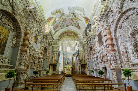 palermo   italy: PALERMO, ITALY - SEPTEMBER 9, 2015: Interior of the Church of Santa Maria di Valverde in Palermo, Sicily, Italy Editorial