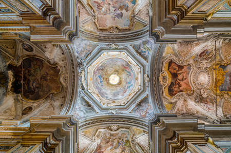 palermo   italy: PALERMO, ITALY - SEPTEMBER 9, 2015: Ceiling in the Church of San Matteo in Palermo, Sicily, Italy Editorial
