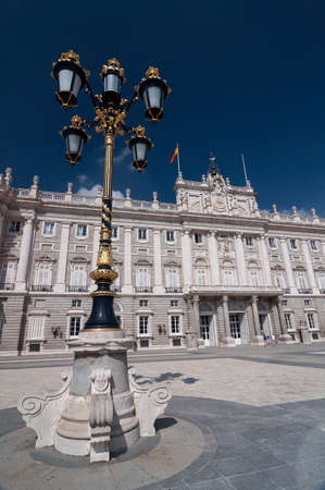 royal family: The Royal Palace of Madrid (Palacio Real de Madrid) is the official residence of the Spanish Royal Family at the city of Madrid, Spain. Lantern on the foreground.