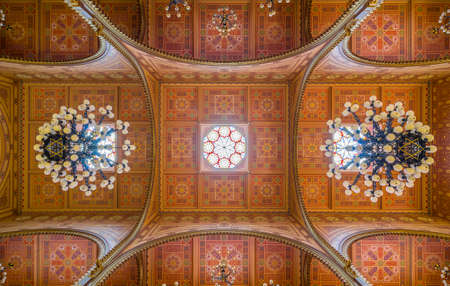 synagogue: BUDAPEST, HUNGARY - FEBRUARY 21, 2016: Ceiling of the Great Synagogue in Dohany Street. The Dohany Street Synagogue or Tabakgasse Synagogue is the largest synagogue in Europe. Budapest, Hungary.