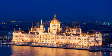 neogothic: The Hungarian Parliament Building, also known as the Parliament of Budapest.One of Europes oldest legislative buildings, a notable landmark of Hungary and a popular tourist destination of Budapest. Stock Photo