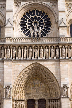 The Western Rose Window Kings Statues And Architectural Details
