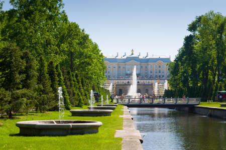 PETERHOF, RUSSIA - MAY 26, 2015: Grand Peterhof Palace, the Grand Cascade and Samson Fountain.