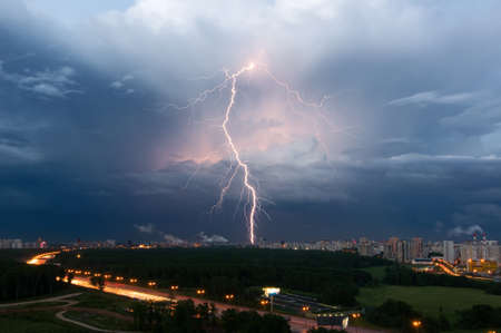 Summer thunderstorm with lightning over Moscow, Russia Stock Photo