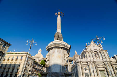 Piazza Duomo or Cathedral Square with Cathedral of Santa Agatha - Catania duomo in Catania, Sicily, Italy