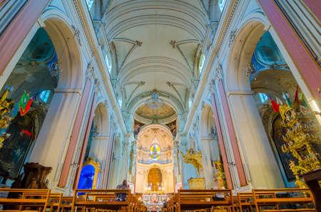 Catania, Italy - September 13, 2015: Interior of the church of San Francesco all Immacolata, Province of Catania, Sicily, Italy