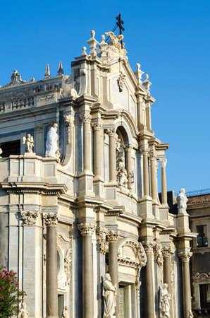 Main facade of the Cathedral of Santa Agatha - Catania duomo in Catania, Sicily, Italy. Stock Photo