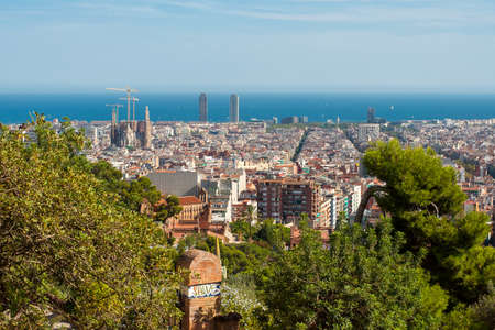 Panoramic view of Barcelona from Park Guell.