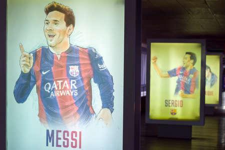 Hand-drawn of Lionel Messi. Nou Camp, Barcelona, Catalonia, Spain.