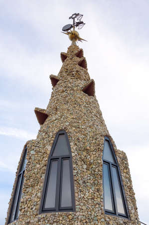 Design of the Palace Guell roof - Gaudi Chimney. Editorial