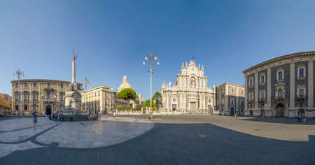 catania: Piazza Duomo and Cathedral of Santa Agatha. Catania, Sicily, Italy