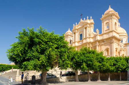 Noto, Italy - September 14, 2015: Noto Cathedral or Cattedrale di Noto, La Chiesa Madre di San Nicolo is a Roman Catholic cathedral in Sicily, Italy. Built in the style of the Sicilian Baroque.
