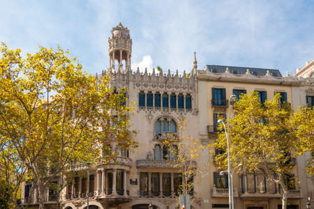Barcelona, Spain - September 19, 2014: The Casa Lleo Morera is a building designed by noted modernisme architect Lluis Domenech i Montaner, located at Passeig de Gracia, Barcelona. Editorial