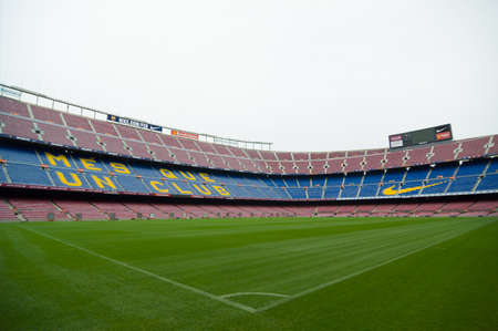 Barcelona, Spain - September 22, 2014: One of the stands displaying Barcelonas motto, Mes que un club, meaning More than a club. Camp Nou, Barcelona, Spain. Editorial